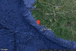 Temblor M5.5 a 12 km. de Las Brisas, Jalisco México Fecha: 2018-06-30 03:56:51 GMT Prof.: 10 km.