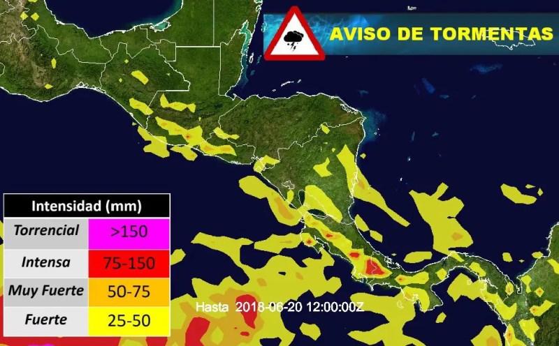 Estimación de lluvias acumuladas hasta las 6am de miércoles