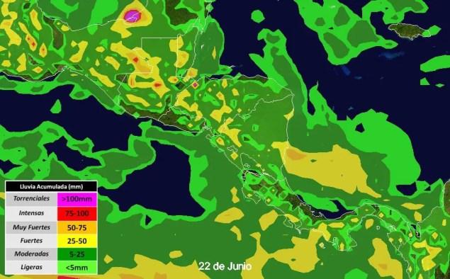 Lluvias fuertes previstas para el viernes 22.6.18