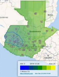 Temperaturas mínimas y posibles heladas en Guatemala