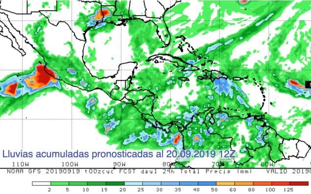 Lluvia pronosticada próximas 24h por Lorena