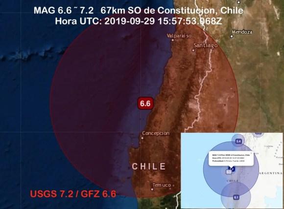 Sismo fuerte en Maule, Chile