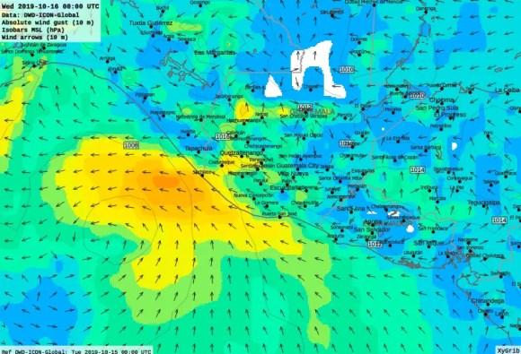 Vientos fuertes > 45kph según modelo Europeo se estarían presentando en las costas del Guatemala esta noche