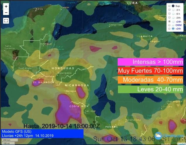 Pronóstico de lluvias en 24h GFS