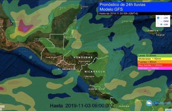 lluvias próximas 24h por frente frío estacionado al sur del Golfo de México