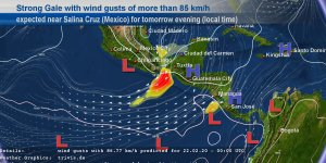 Vientos muy fuertes en el Istmo de Tehauntepec por nuevo frente frío llegando a la región. Trivis.de