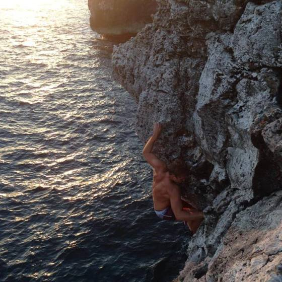 Climbing Cayman Brac - David on Deep Water Solo