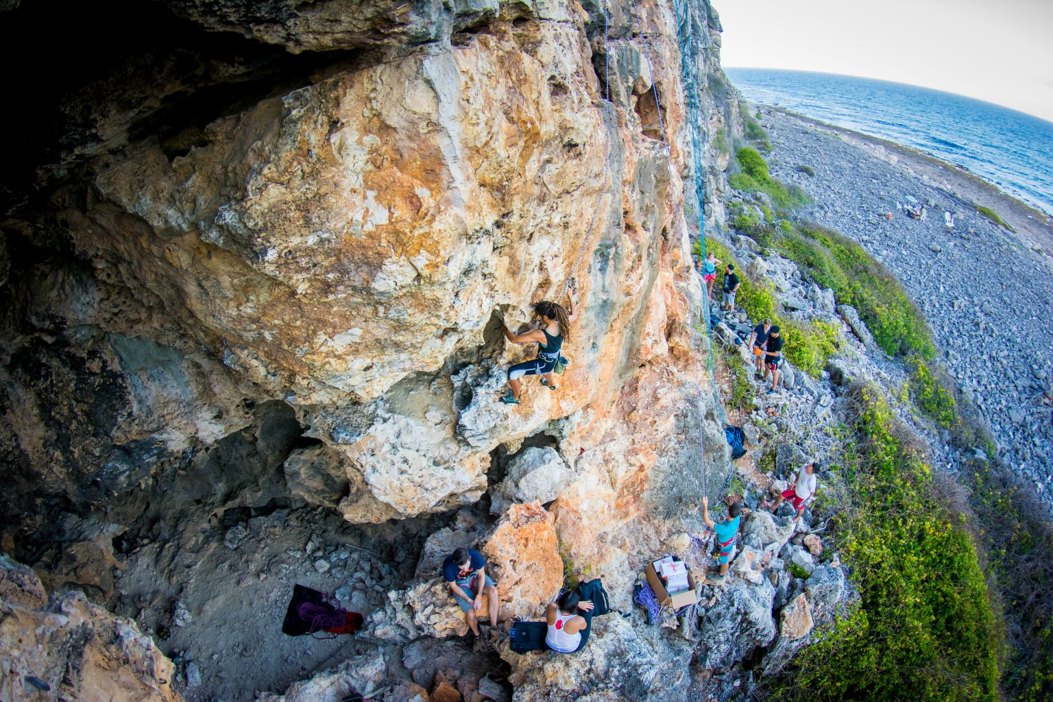 Climbing Cayman Brac - Open climb - Orange Cave - Photot by Jim