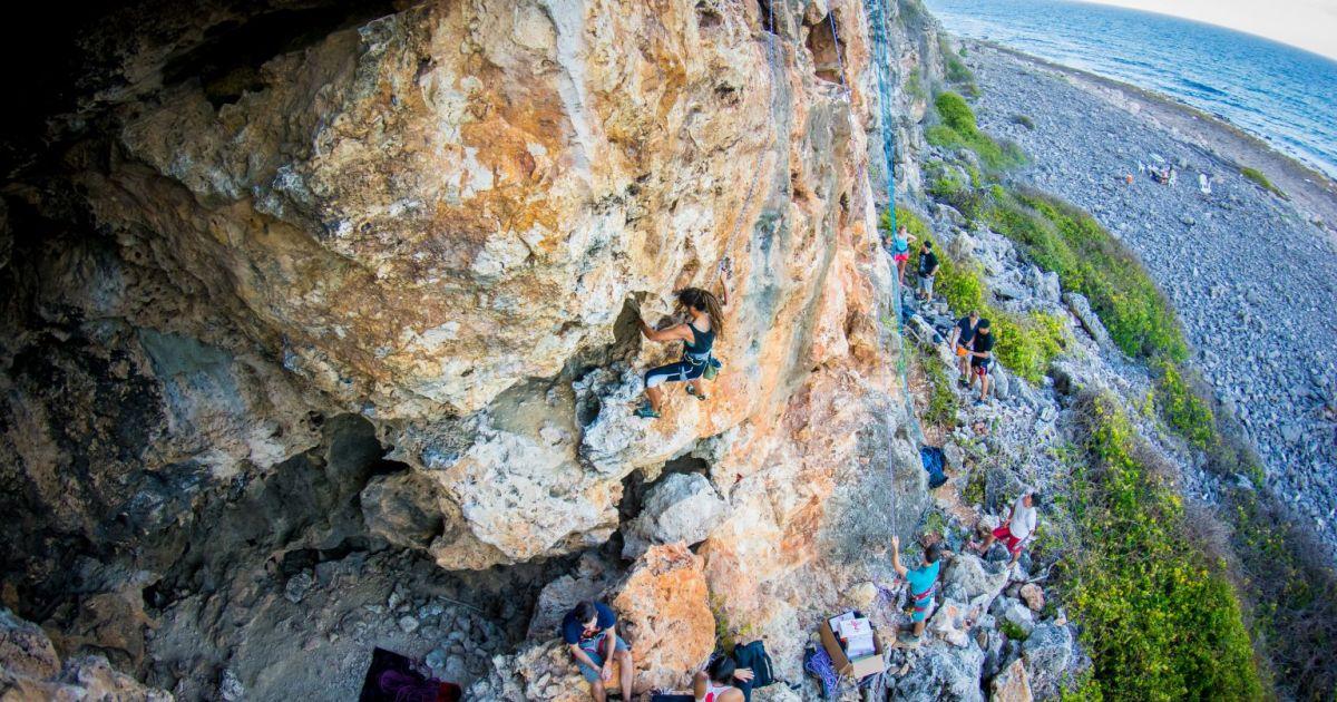 Climbing Cayman Brac - Open climb - Orange Cave - Photot by Jim