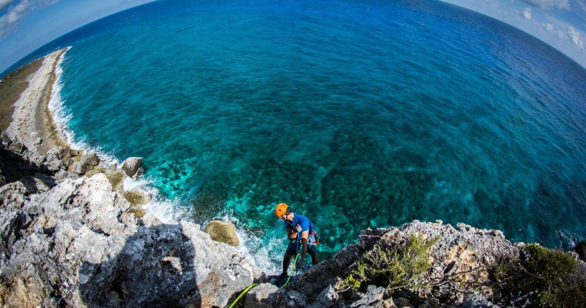 Climbing Cayman Brac - Open climb - Bluff Rappel Photot by Jim