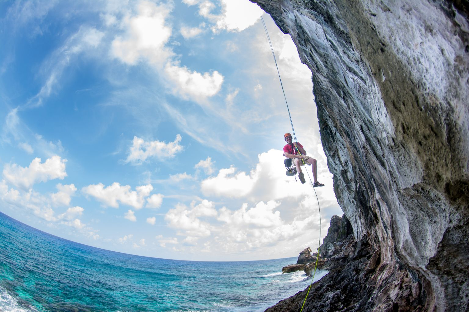 Climbing Cayman Brac - Open climb - Bluff Rappel Photot by Jim