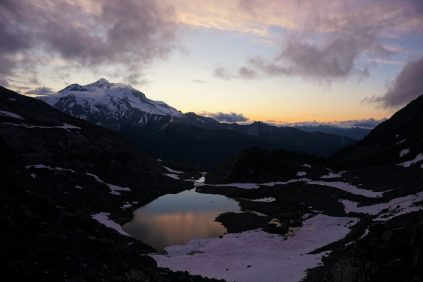 Sunset on Glacier Peak and Butterfly Lake.