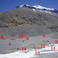 April 17th - Location of basecamps and number of climbers on the North Side of Everest