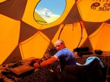 axe writing blog in comms tent with everest view small