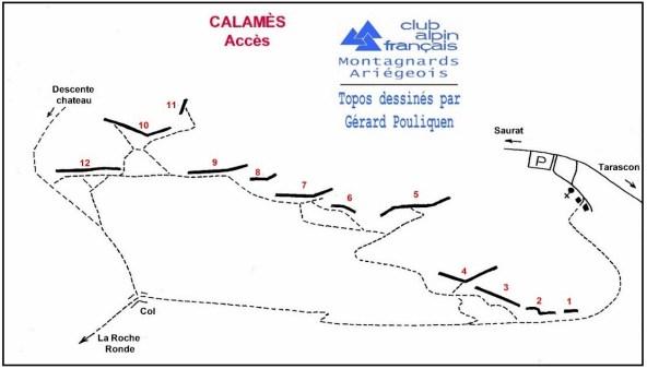 topo accès Calamès (CAF Ariège)