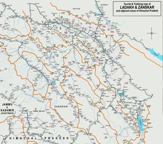 Topo des treks du Ladakh et Zanskar (route Tso Kar au Tso Moriri en vert)