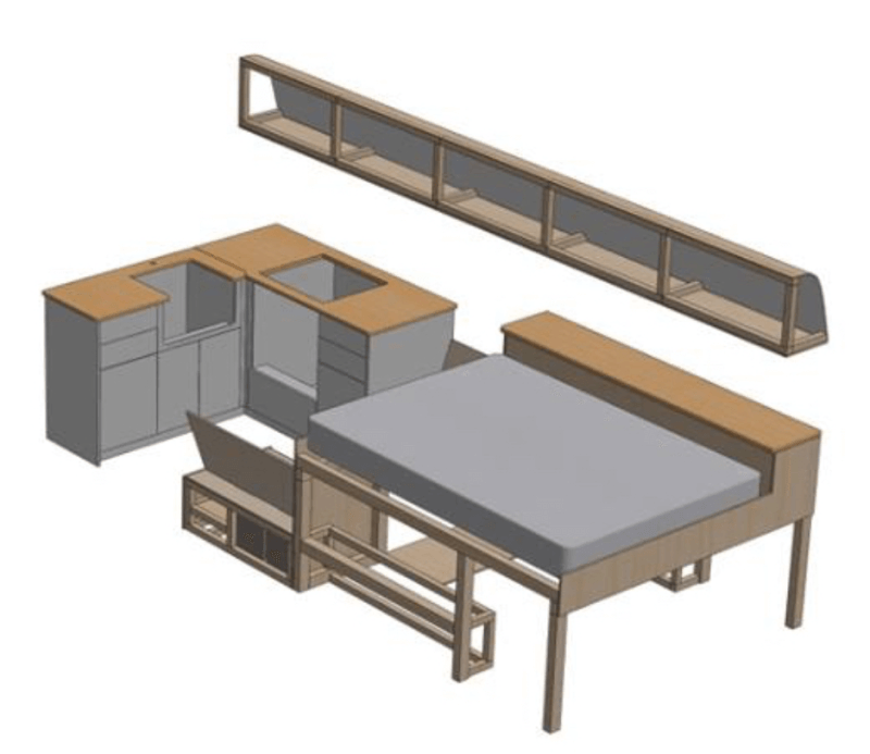 3D CAD model of a campervan conversion created in sketchup