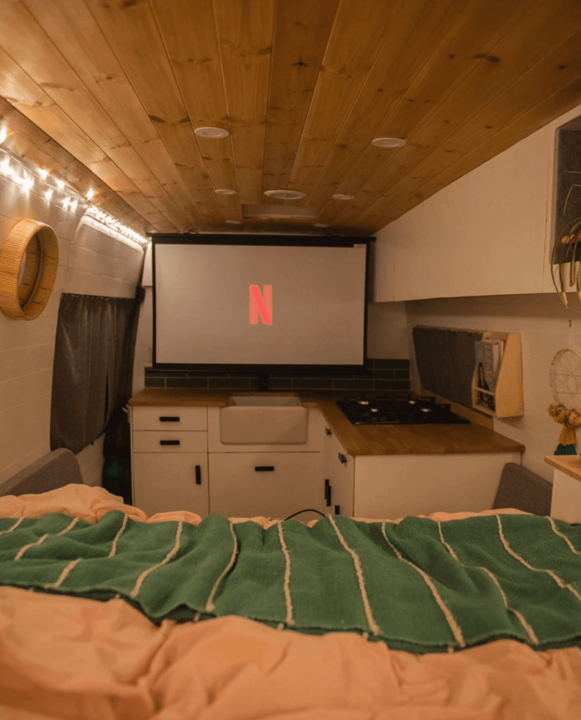 campervan projector screen setup van life watching netflix ViewSonic M1+ portable projector