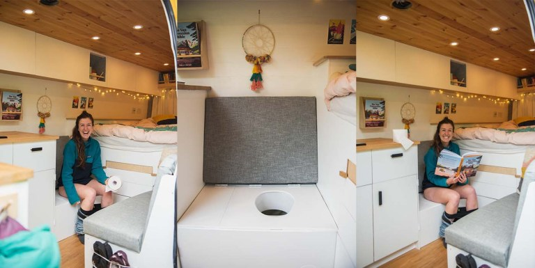 diy composting toilet campervan using a urine diverter - how to make a composting toilet