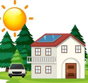 Maison avec son système de production d'électricité via des panneaux photovoltaïques ou panneaux solaires