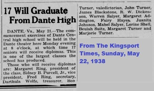 Dante Central Graduation, May 21, 1938
