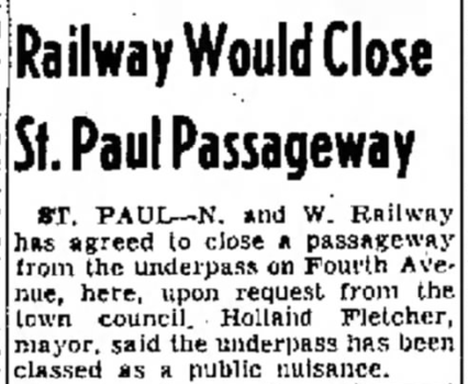 Underpass To Be Closed Dec. 12, 1955
