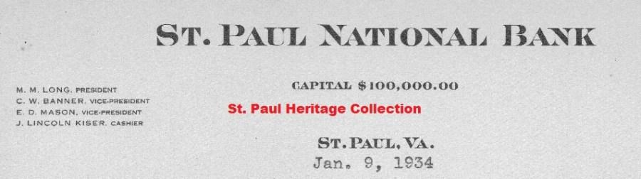 St. Paul Nat. Bank Letterhead 1934