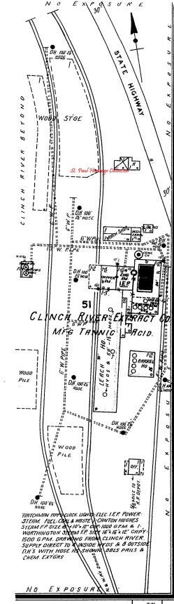 Clinch River Extract Plant from 1927 map