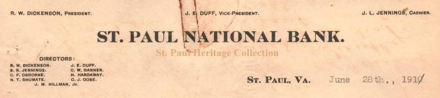 St. Paul National Bank letterhead