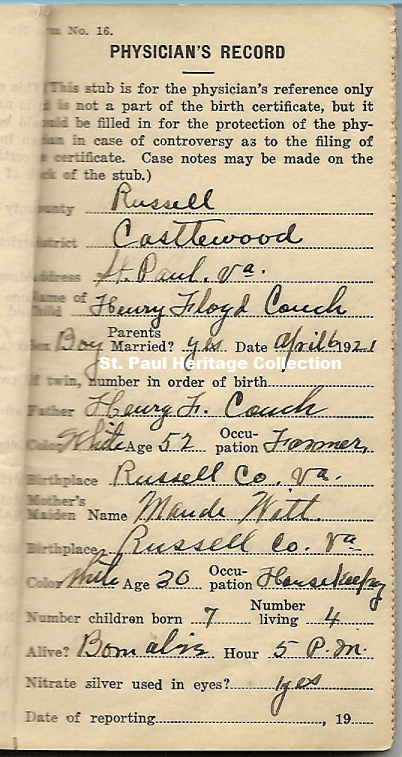 Henry Couch Birth Record