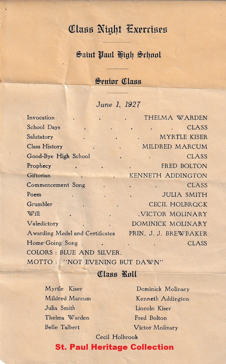 SPHS COMMENCEMENT PROGRAM 1927