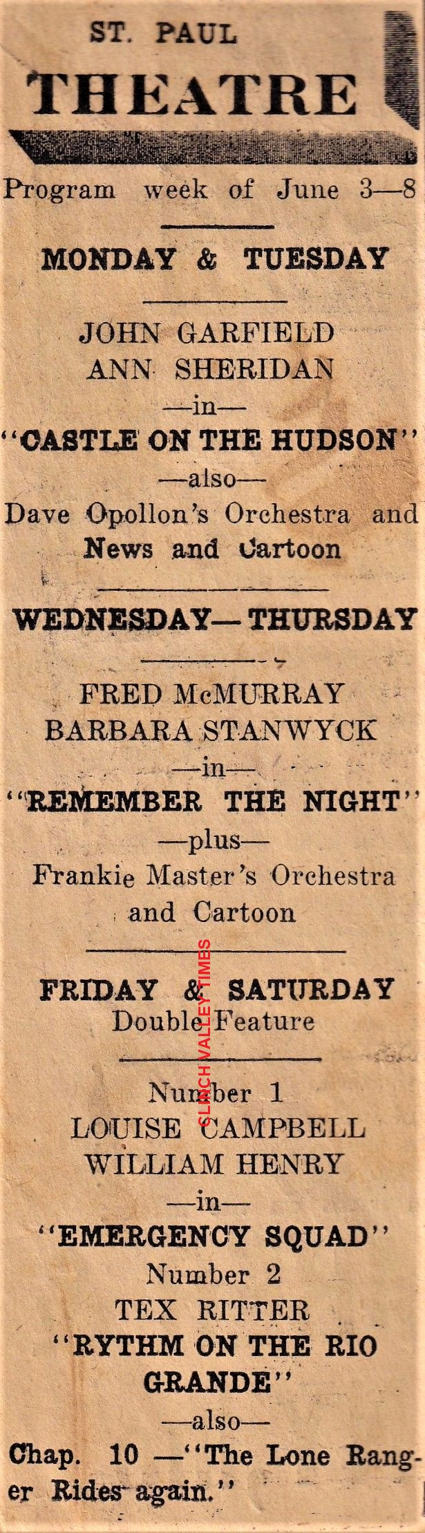 St. Paul Theatre May 30, 1940