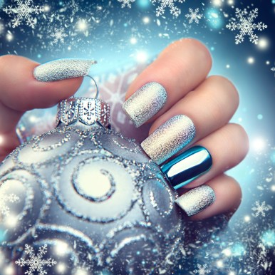 Christmas nail art manicure. Winter holiday style bright manicure design
