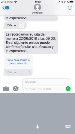 sms de recordatorio que recibira el paciente en el que se le indica el día y la hora de la cita