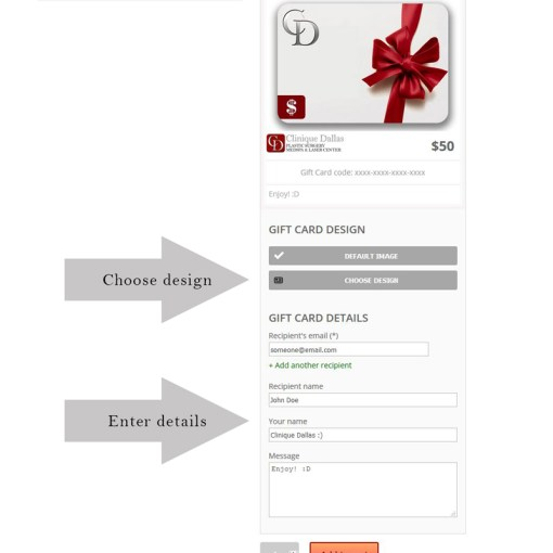 Shop gift card demo - Clinique Dallas Plastic Surgery, Medspa and Laser Center