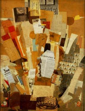"""Difficult. 1943. Collage. 31"""" x 24""""."""