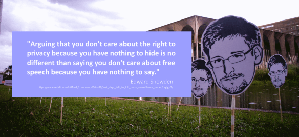 Privacy and Free Speech by Clint Lalonde is a modified image released under a CC-BY-NC-SA license. The original image is SnowdenDAY - Brasília (DF) by Mídia NINJA CC-BY-NC-SA. This modified version has been cropped and the quote box and quote has been added.