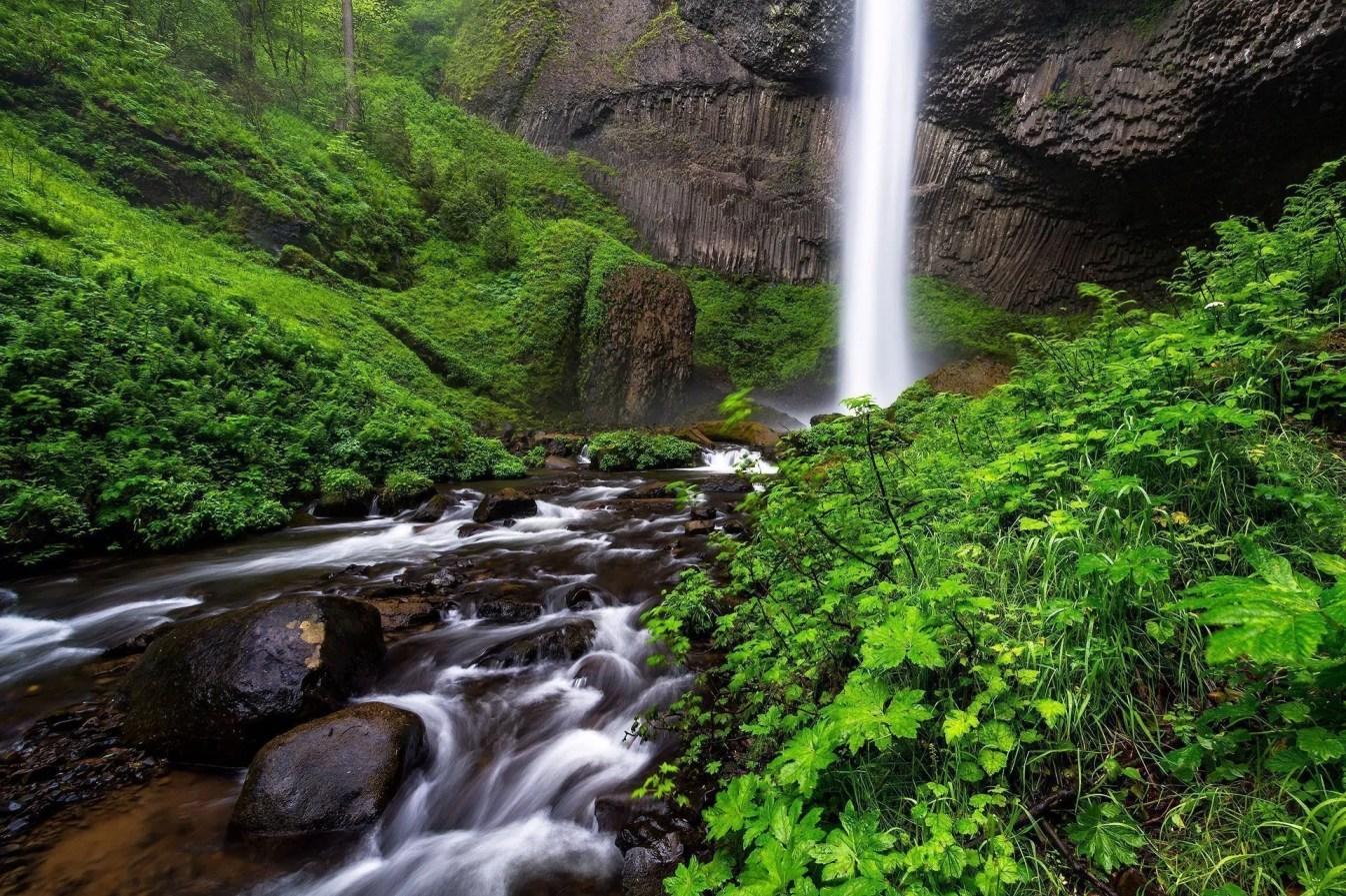 Latourell Falls Rainy Day - Columbia River Gorge - Landscape Pho