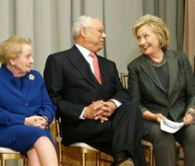 Former secretaries of state (L-R) Madeleine Albright, Colin Powell and Hillary Clinton participate in the ceremonial groundbreaking of the future U.S. Diplomacy Center at the State Department's Harry S. Truman Building September 3, 2014. (Credit: Jonathan Ernst / Getty Images)