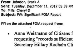 A snippet of Brock Johnson's email to Cheryl Mills. (Credit: public domain)