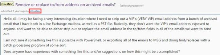 """July 24, 2014 Reddit post contained this request for advice about """"stripping out"""" the email address of a """"VERY VIP"""" email account. (Credit: Reddit)"""