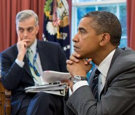President Obama and White House Chief of Staff Denis McDonough in the Oval Office. (Credit: Pete Souza / White House)