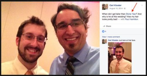 """Paul Combetta is referred to as """"Stonetear"""" by a friend in this FB photo. (Credit: Facebook)"""