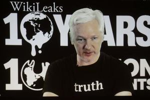 WikiLeaks founder Julian Assange participates via video link at a news conference marking the 10th anniversary