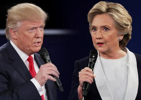 Clinton and Trump spar at a presidential debate in St. Louis, Missouri on October 9, 2016. (Credit: John Locher / The Associated Press)