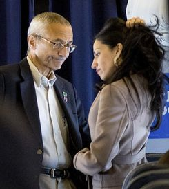On October 11, 2016, Podesta and Abedin confer on the Clinton campaign plane, shortly after Wikileaks begins releasing Podesta's emails. (Reuters)