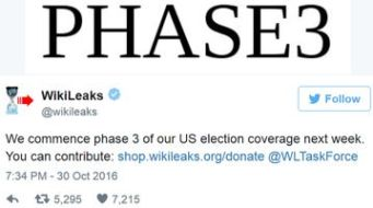 A tweet by Wikileaks introducing Phase 3. (Credit: Wikileaks / Twitter)