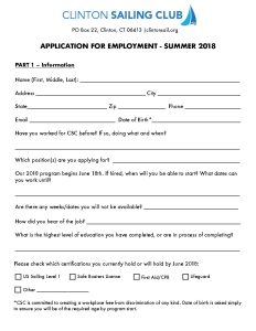 csc employment application clinton sailing club