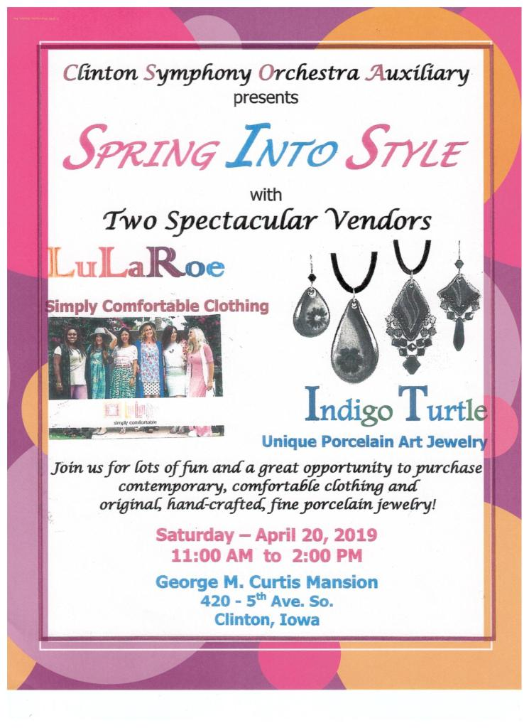 Support the Clinton Symphony Orchestra while updating your style!  Enjoy two vendors, LuLaRoe clothing and Indigo Turtle jewelry, all in the beautiful Curtis Mansion.