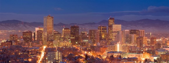 Mile High City of Denver Colorado with Mountains at Twilight